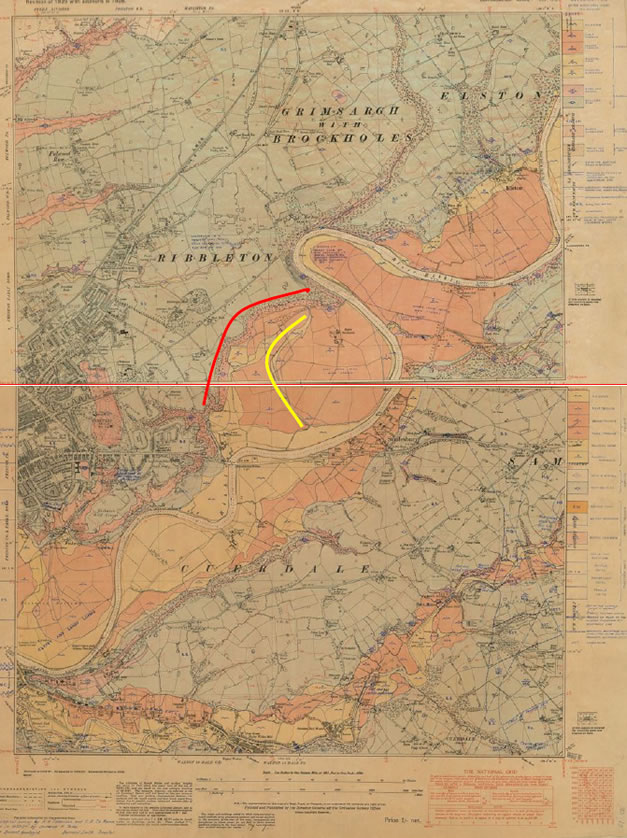 The geology of the area around Brockholes as shown in two geological maps produced in the 1920s at a scale of Six Inches to One Mile. The river Ribble can be seen meandering across its floodplain. Brockholes reserve is in the large curving meander at the junction of the two map sheets. On this map it is possible to identify two older channels, one making the northern edge of the valley (in red) while the other (in yellow) curves across the western edge of the reserve (next to the M6 motorway not shown on this map).