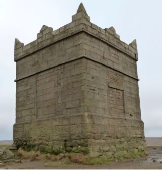 The beacon on Rivington Pike, near Chorley, built using a coarse-grained arkosic sandstone of Carboniferous age, the Rough Rock (J K Williams, Strategic Stone Survey for Lancashire)