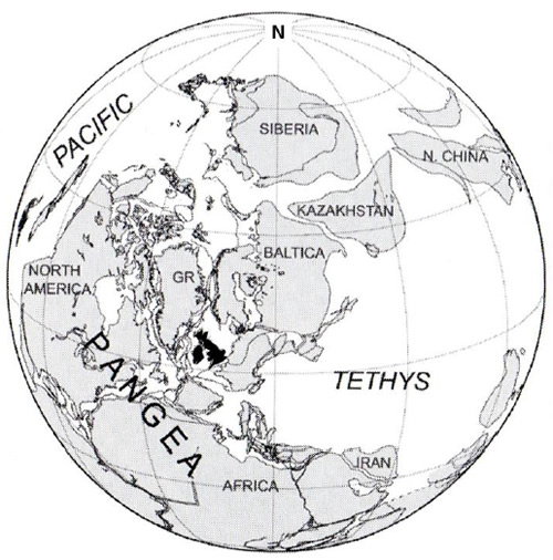 Reconstruction of the position of the continents at about 300Ma. The UK is located just north of the equator.