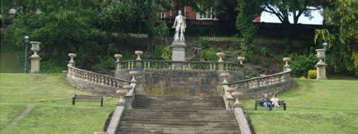 The steps made from Pendle Grit and statuary in Miller Park
