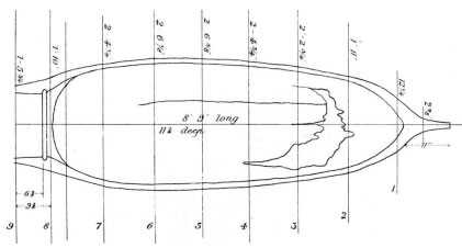 Dickson's drawing of the dimensions of the boat found in the excavations for Preston docks in 1887