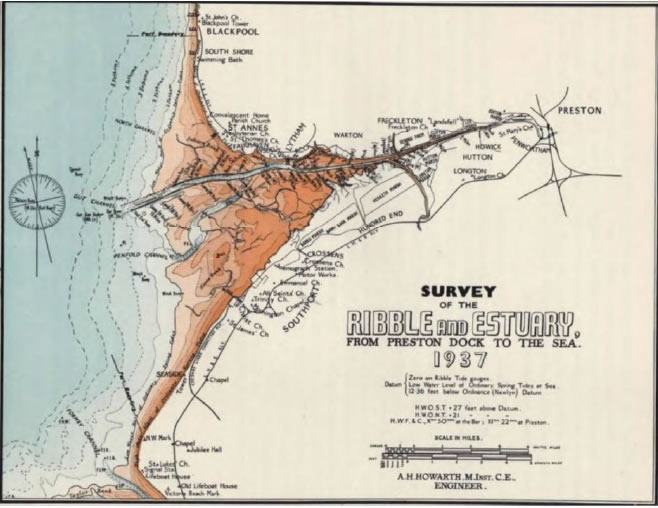 Map showing the results of a survey of the Ribble estuary in 1937. (Sefton BC Report, 1986)