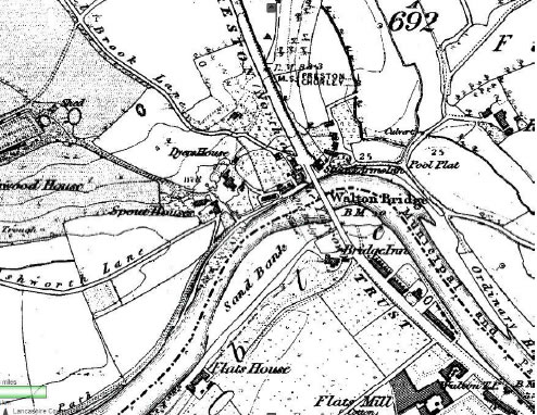 Section of the 1840 OS map, showing Walton Bridge over the Ribble