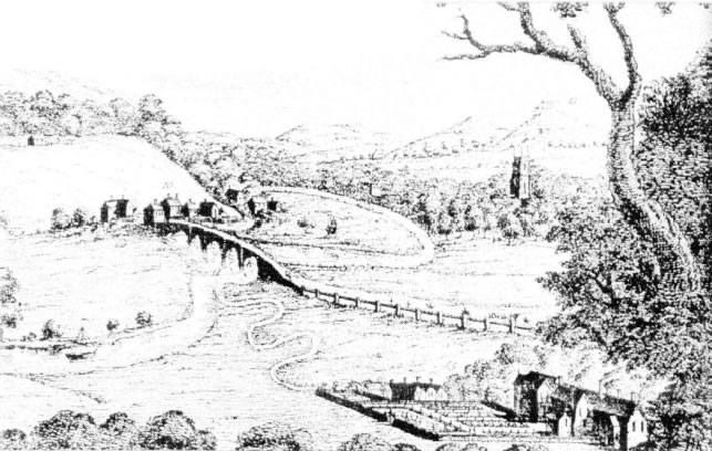 1728 engraving by S and N Buck depicting the Walton Flats and the Darwen-Ribble confluence, with Walton le Dale parish church in the middle distance (Chiti, 2004)