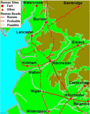 Map of the routes of Roman roads in Lancashire showing the probable crossing point at Walton le Dale. (Lancashire County Council website)