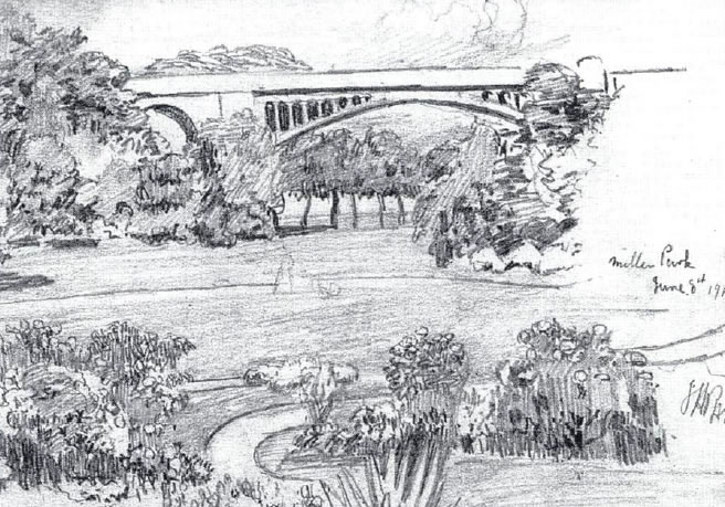 A pencil drawing by John Anthony Park of Miller Park in about 1900 showing the railway viaduct