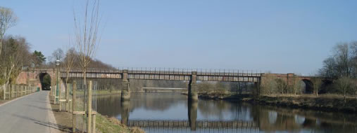 The East Lancashire railway viaduct across the river Ribble now a foot and cycle way