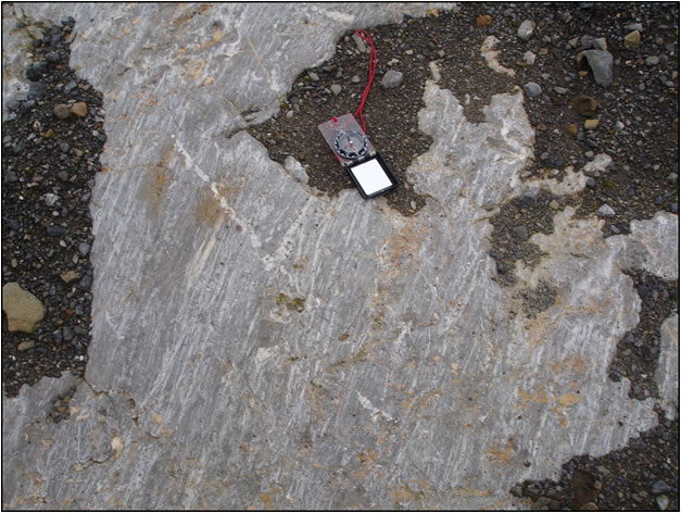 Recently exposed limestone, Clitheroe. The prominent white scratches or striae have been created by harder rocks embedded in the basal ice; they are all oriented towards the south-west indicated the direction of ice flow.
