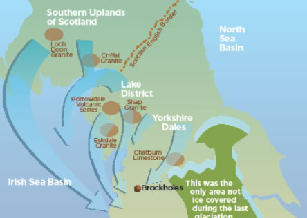 Map showing main ice-sheet flow directions and source locations for erratic boulders. (Brockholes geotrail guide)