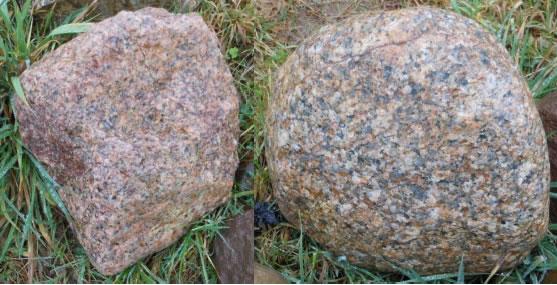 Granite erratics found at Brockholes, now in the Erratic Circle