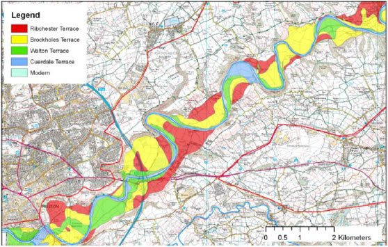 River terrace data for the reach east of Preston from the mapping of Chiti (2004) Brockholes reserve is in the large yellow area immediately east of the M6.