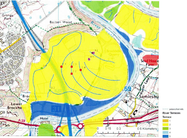 Geomorphological map of the Lower Ribble valley at Brockholes meander, showing river terraces, palaeochannels and section locations (Chiti, 2004)