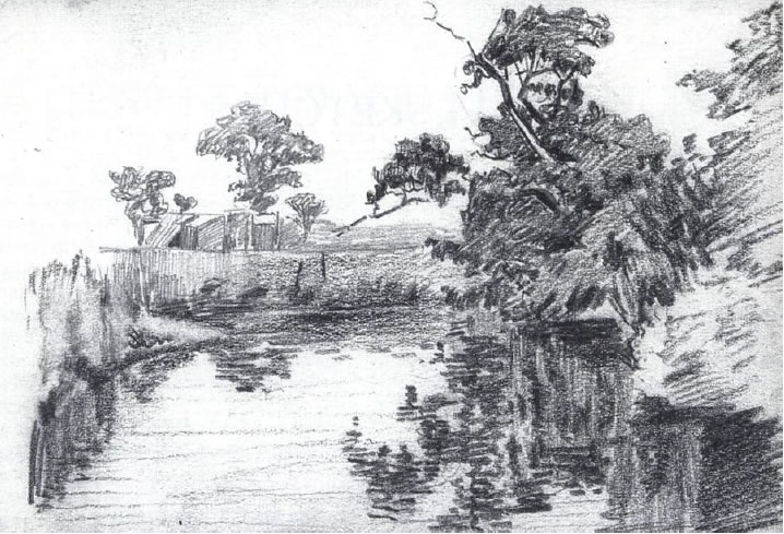 A pencil drawing by John Anthony Park of the Ribble valley in 1899