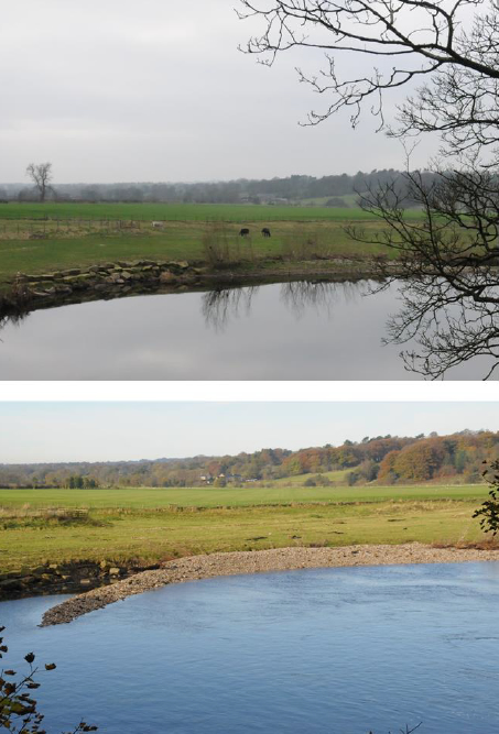 Upper: Sales Wheel in March 2012. Lower: Sales Wheel in November 2012, with a shingle bank emplaced by high flow rates in the River Ribble.