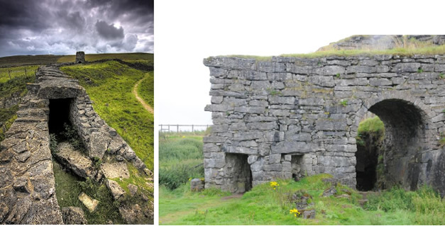 (left) The remains of the chimney stack at Toft Gate and, in the near ground, the flue from the lime kiln to the stack. (right) Toft Gate kiln with coal feeding ports at ground level. The quicklime withdrawal arch is lower down at the back. The start of the flue is just visible on the right.