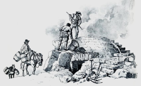 Field kiln with fuel being brought by packhorse. (etching from W H Pyne 1806)