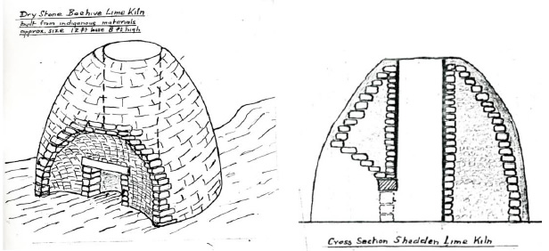 Sketch by Titus Thornber of a field lime kiln, about 3.5m diameter, based on what he found at Shedden Clough (near Burnley)