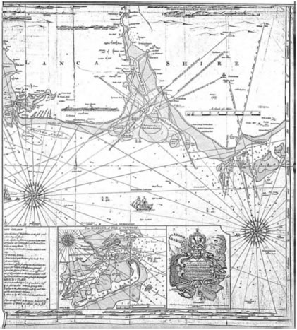 Map of the Ribble estuary, from the chart of Fearon and Eyes (1736-7), (Figure 5.1).