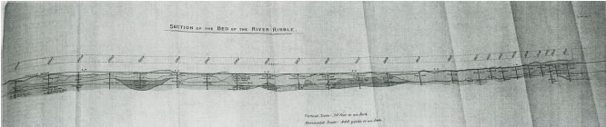 Section of the bed of the river Ribble, drawn during work to construct Preston docks