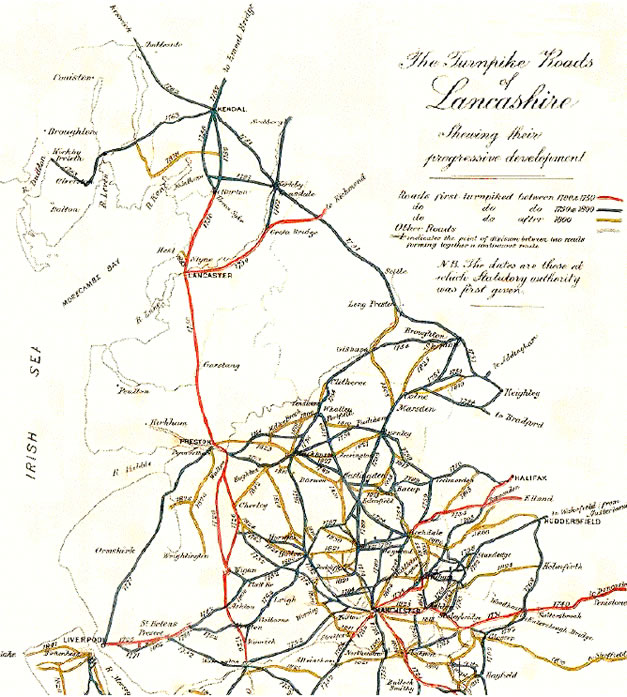 The turnpike roads of Lancashire showing Preston as a nodal centre