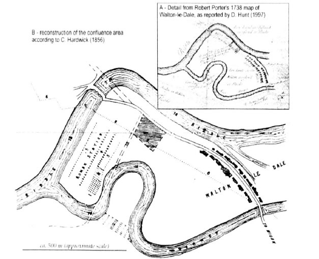 Map showing the location of Roman remains in the Walton Bridge area (Chiti, 2004)