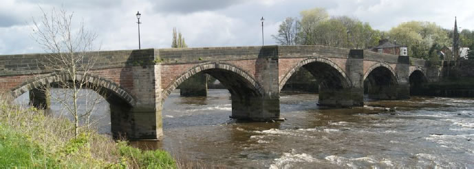 Penwortham Old Bridge, now used as a footbridge linking Penwortham with the city centre